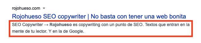 SEO copywriting meta description